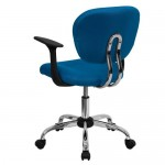 Flash Furniture H-2376-F-TUR-ARMS-GG Mid-Back Turquoise Mesh Task Chair with Arms and Chrome Base