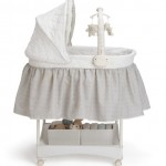 Delta Children Products Smooth Glide Bassinet, Silver Linings
