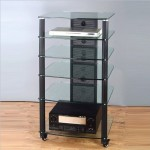 6 Shelf Audio Rack in Multiple Finishes Frame Color: Black, Glass Color: Frosted